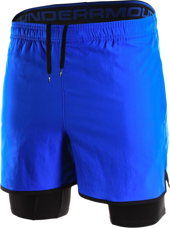nowy autentyczny szczegółowe obrazy ładne buty Under Armour Qualifier 2-IN-1 Short Blue/Black