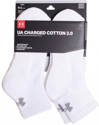 Under Armour Charged Cotton 2 Quater White Gray 6Pack