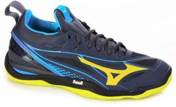 Mizuno Wave Hurricane 3 Mid Blue Yellow