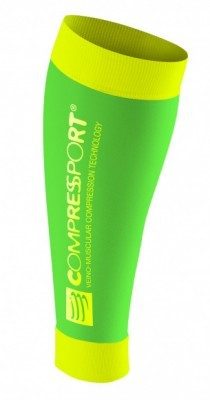 odzież kompresyjna Compressport Calf R2 FLUO GREEN