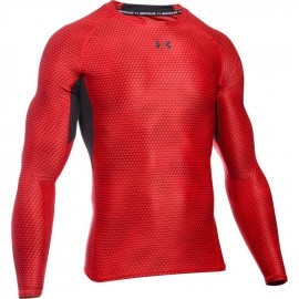 Heatgear Armour Printed Longsleeve Compression Shirt Red 601
